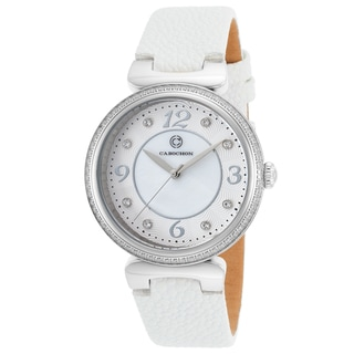 Cabochon Women's White Leather Watch