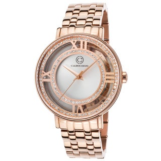 Cabochon Women's Rosetone Stainless-steel Crystal-encrusted Watch