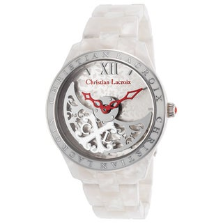 Christian Lacroix White Mineral/Stainless Steel Watch