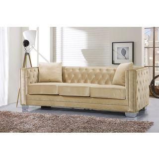 Meridian Reese Beige Velvet Sofa