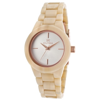 Clyda Women's Brown Acetate Watch with Silvertone Dial