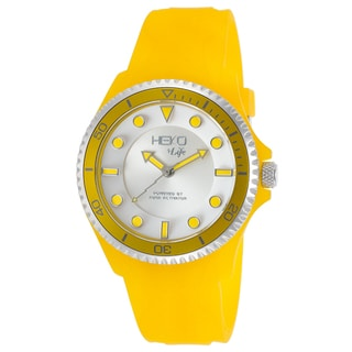 Heko +Life Yellow/Silvertone Mineral/Resin Watch
