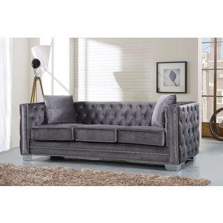 Meridian Reese Grey Velvet Sofa