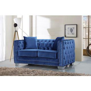 Meridian Reese Light Blue Velvet Loveseat