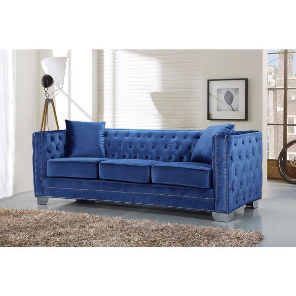 meridian reese light blue velvet sofa
