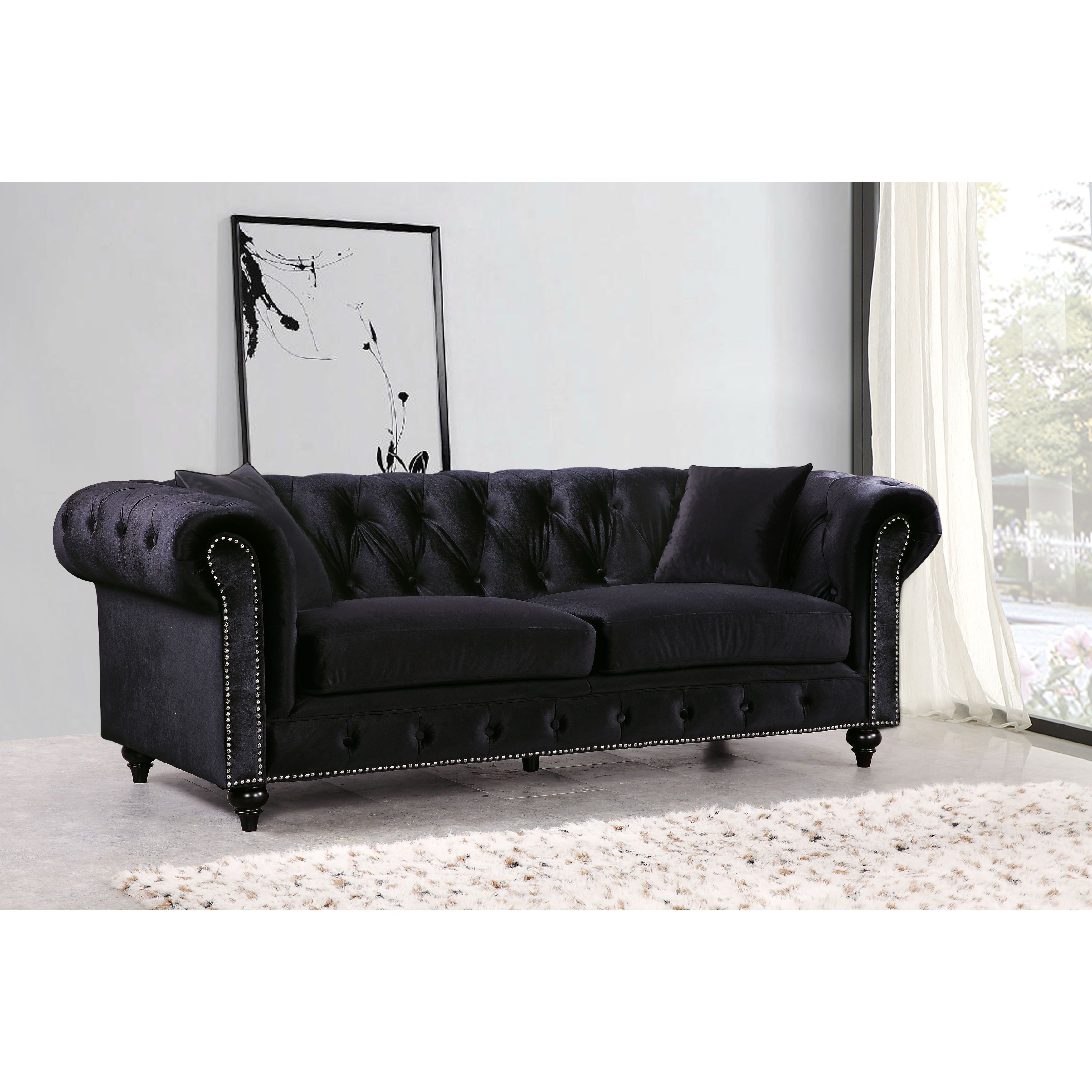 Meridian Chesterfield Black Velvet Sofa