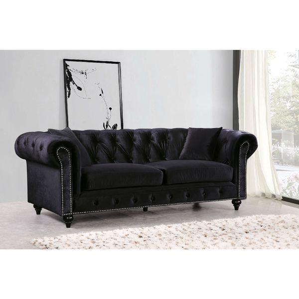 Meridian Chesterfield Black Velvet Sofa