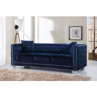 Barrister Blue Velvet Crystal Button Tufted Sofa Reviews
