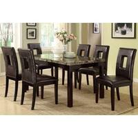 Luxury Jesenice Dark Brown Faux Marble 7-piece Dining Set