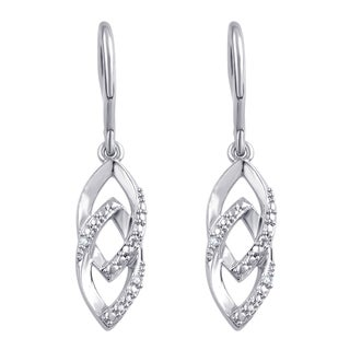 Divina White Silver Over Brass Diamond Accent Marquise Shape Fashion Earrings