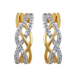 Divina 14k Yellow Over Brass I-J I2-I3 Diamond Accent Fashion Criss-cross Earring