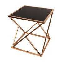 Danya B. Square Geodesic Rose Gold End Table with Black Glasstop