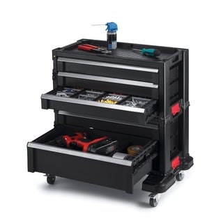 Keter Black Plastic Portable Sliding Storage 5-drawer Organizer System