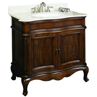 36-in. W x 21-in. D Traditional Birch Wood-Veneer Vanity Base Only In Distressed Antique Cherry
