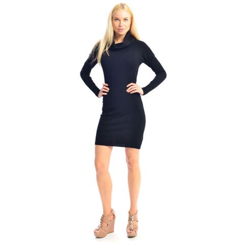 Women's Cowl Neck Stretchable Long-sleeved Slim Fit Sweater Dress