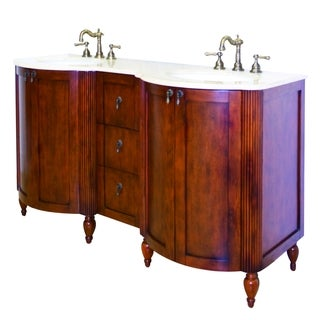 59-in. W x 21-in. D Traditional Birch Wood-Veneer Vanity Base Only In Antique Cherry