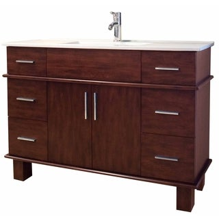 47-in. W x 17-in. D Transitional Birch Wood-Veneer Vanity Base Only In Antique Cherry