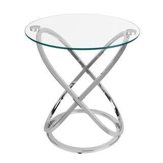 Danya B™ Galaxy Chrome and Tempered Glass Round End Table