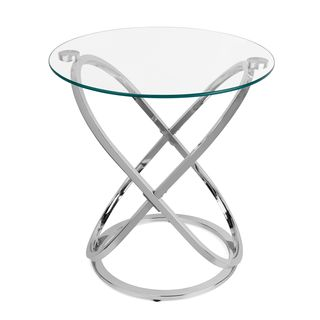 Bon Clay Alder Home Lewisville Galaxy Chrome And Tempered Glass End Table