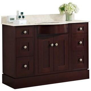 48-in. W x 22-in. D Transitional Cherry Wood-Veneer Vanity Base Set Only In Coffee