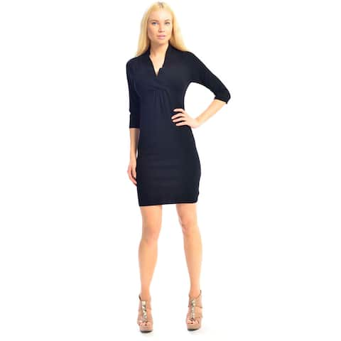 Women's V-neck Stretchable 3/4 Sleeve Slim Fit Sweater Dress