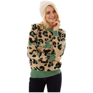 Women's Multi-color Knit Leopard Print Pullover Sweater