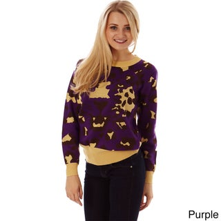 Women's Multi-color Knit Leopard Print Pullover Sweater (2 options available)