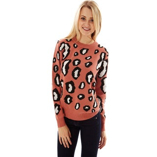 Women's A2238 Soft Knit Leopard Print Sweater