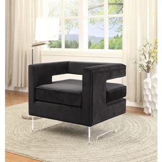 Meridian Carson Black Velvet Accent Chair