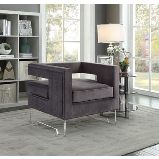 Meridian Carson Grey Velvet Accent Chair