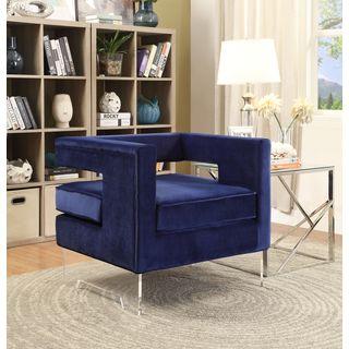 Meridian Carson Navy Velvet Accent Chair