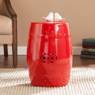 Harper Blvd Salinas Poppy Red Ceramic Indoor/ Outdoor Accent Table/ Garden Stool