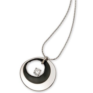 Black Enamel Silver Cubic Zirconia Necklace