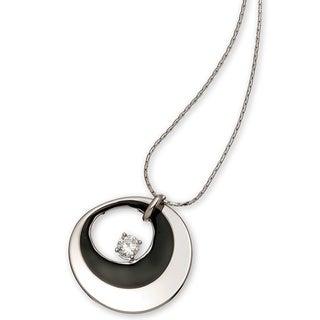 Black Enamel Silver Cubic Zirconia Necklace