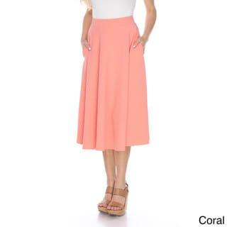 White Mark Women's Tasmin Flared Midi Skirt