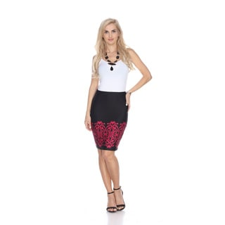 White Mark Women's Print Pencil Skirt