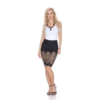 White Mark Women's Print Pencil Skirt