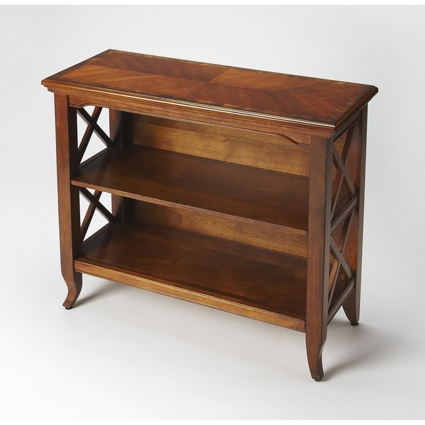 """Handmade Butler Newport Olive Ash Burl Low Bookcase - 32"""" W x 13""""D x 31""""H. Opens flyout."""