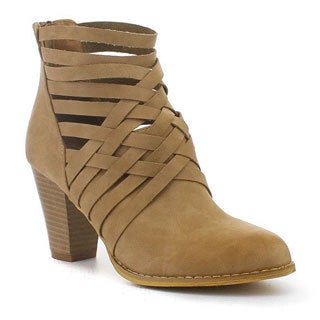 MI.IM Women's Beige Faux Leather Ankle Bootie