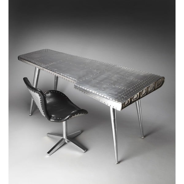 Butler Midway Silver Aluminum/MDF/Steel/Wood Aviator Desk   Free Shipping  Today   Overstock.com   18916795