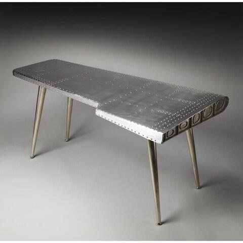Butler Midway Silver Aluminum/MDF/Steel/Wood Aviator Desk