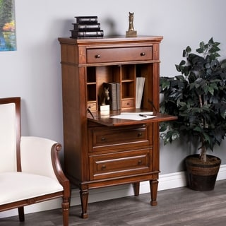 Butler Wordsworth Brown Wood/MDF Olive Ash Burl Secretary Cabinet