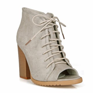 Mark and Maddux Peep-toe Women's Lace up Bootie