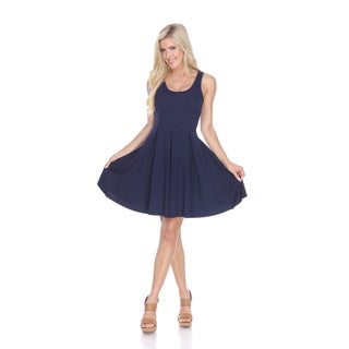 White Mark Women's Crystal Fit and Flare Blue Dress
