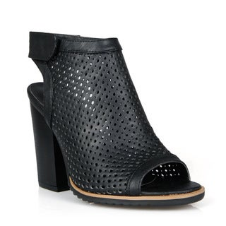 Mark and Maddux Peep-toe Women's Perforated High Heel Bootie