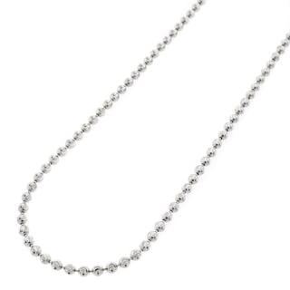 10k White Gold 2mm Moon-cut Bead Pendant