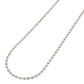 "10k White Gold 2mm Moon Cut Ball Bead Solid Necklace Chain 16"" - 30"""