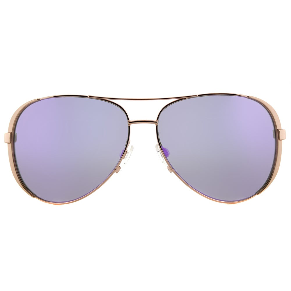48e96b79a406 Shop Michael Kors MK 5004 10034V Chelsea Rose Gold Metal Aviator Sunglasses  With Purple Mirror Lens - Free Shipping Today - Overstock - 12047164
