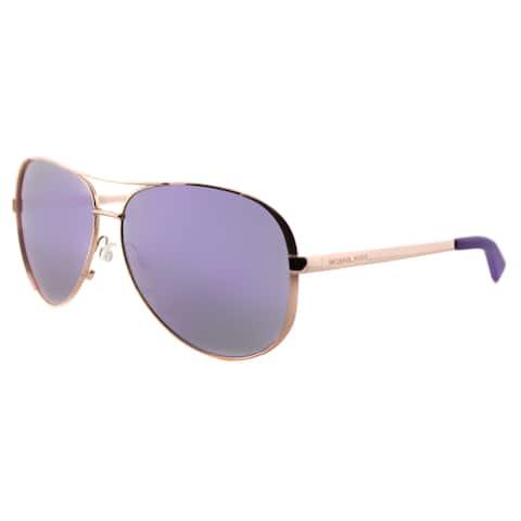Michael Kors MK 5004 10034V Chelsea Rose Gold Metal Aviator Sunglasses With Purple Mirror Lens