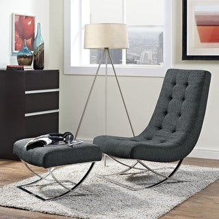 Slope Grey Upholstered Lounge Chair and Ottoman Set